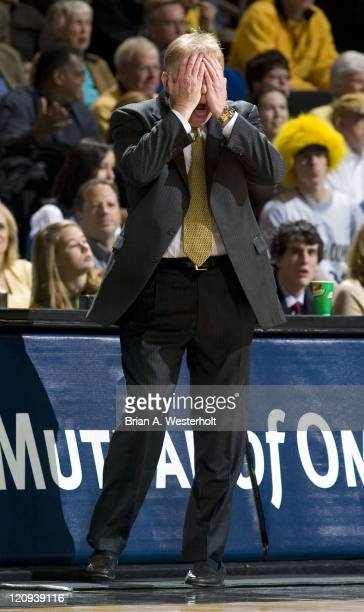 Wake Forest head coach Skip Prosser can't believe his eyes after a foul call against his Demon Deacons during first half action versus North Carolina...