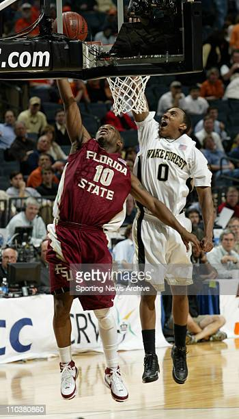 Wake Forest JEFF TEAGUE against Florida State RALPH MIMS on March 13 2008 in Charlotte NC during the ACC Tournament Florida State won 7060