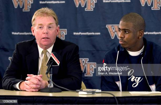 Wake Forest men's basketball head coach Skip Prosser answers questions at a press conference where sophomore point guard Chris Paul announced he will...