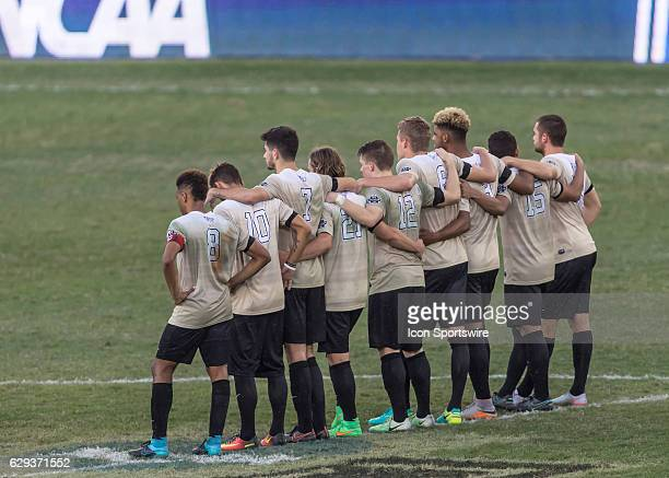 Wake Forest players line up for the penalty kick shootout phase of the NCAA Men's College Cup National Championship soccer match between the Wake...
