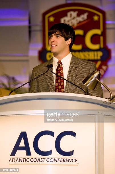 Wake Forest quarterback Riley Skinner addresses the audience after receiving the ACC Rookie of the Year award at the 2006 ACC Football Awards...