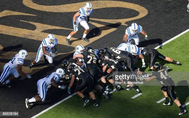 Wake Forest quarterback Riley Skinner scores a touchdown during the first quarter of play versus the Duke Blue Devils at BBT Field on November 1 2008...