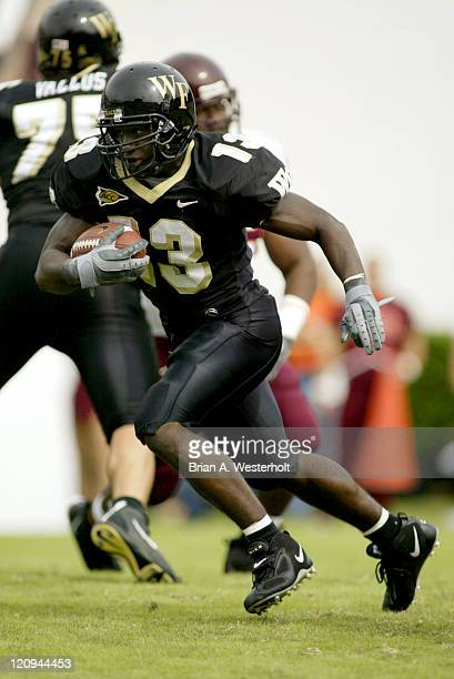Wake Forest RB Micah Andrews heads up field for a portion of his 24 yards rushing on the day as the Demon Deacons fell to the visiting Hoakies 17-10...