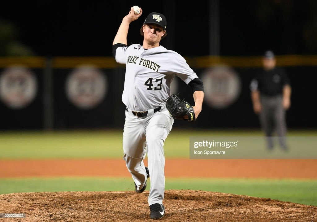 Wake Forest right handed pitcher Griffin Roberts (43) pitches during a college baseball game between the Wake Forest University Demon Deacons and the University of Miami Hurricanes on March 31, 2017 at Alex Rodriguez Park at Mark Light Field, Coral Gables, Florida. Wake Forest defeated Miami 2-1.