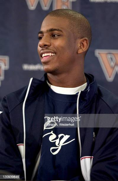 Wake Forest sophomore point guard Chris Paul smiles during a press conference in which Paul announced his intention to make himself eligable for the...