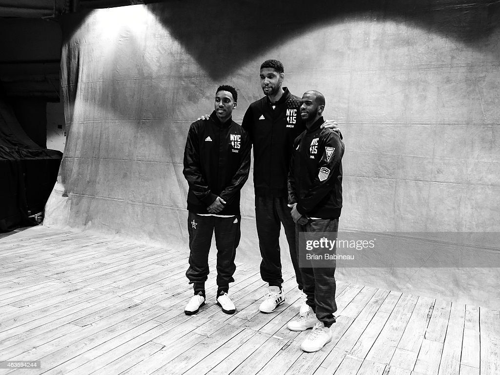 Wake Forest University alumni Jeff Teague, Tim Duncan and Chris Paul pose for a portrait during the 2015 NBA All-Star Game as part of the 2015 All-Star Weekend at Madison Square Garden on February 15, 2015 in New York, New York.