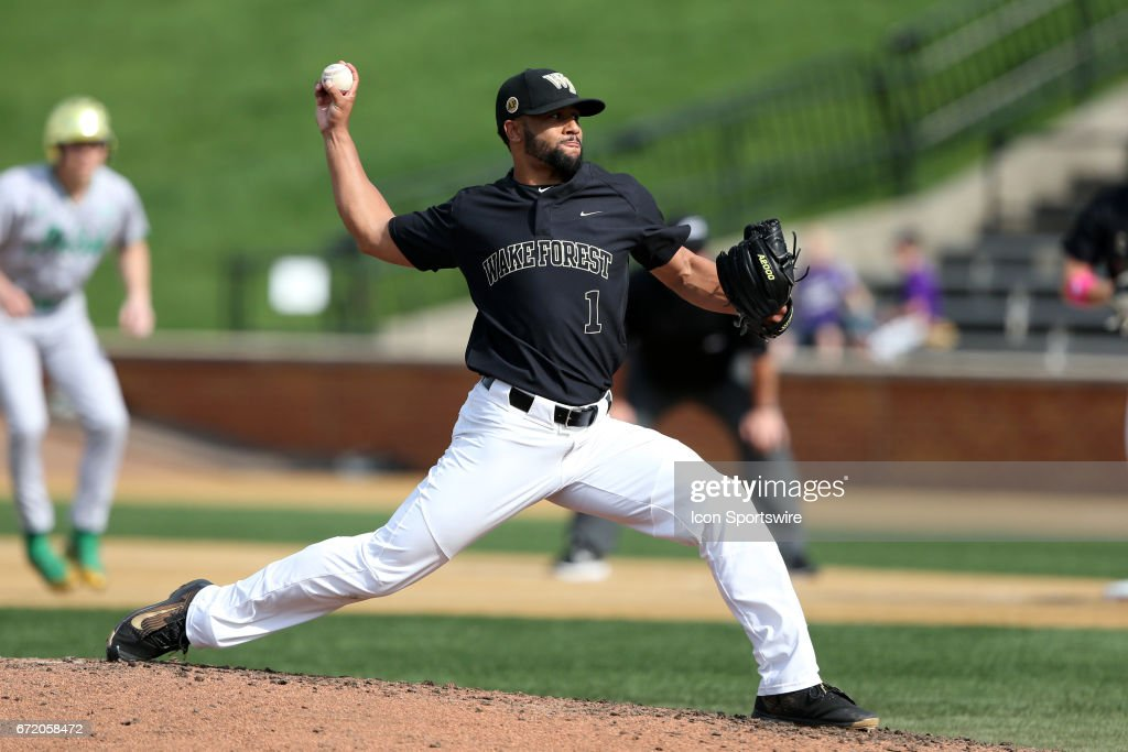Wake Forest's Donnie Sellers throws a pitch. The Wake Forest Demon Deacons hosted the University of Notre Dame Fighting Irish on April 15, 2017, at David F. Couch Ballpark in Wake Forest, NC in a Division I College Baseball game. Wake Forest won the game 13-7.