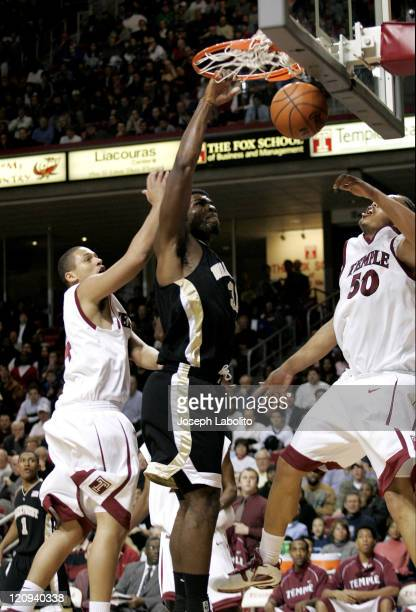 Wake Forest's Eric Williams had 17 points in a 67 to 64 victory over the Temple Owls at the Liacouras Ctr. In Philadelphia on December 13, 2004.