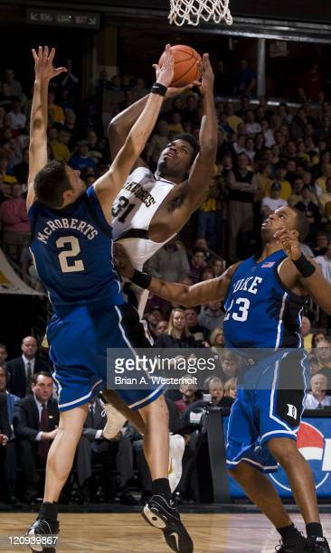 Wake Forest's Eric Williams shoots over Duke's Josh McRoberts during first half action at the LJVM Coliseum in WinstonSalem NC Sunday January 8 2006...