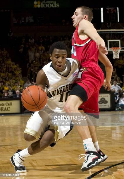 Wake Forest's Ishmael Smith tries to drive around Maryland's Eric Hayes during second half action at the LJVM Coliseum in WinstonSalem NC Saturday...