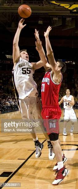 Wake Forest's Kyle Visser shoots over Maryland's Will Bowers at the LJVM Coliseum in Winston-Salem, NC, Saturday, February 3, 2007. The Terrapins...