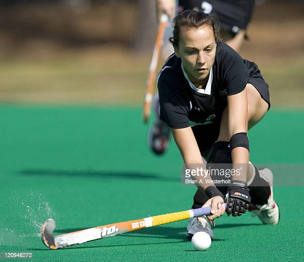 Wake Forest's Minou Gimbrere advances the ball during first half action versus Maryland at the ACC Field Hockey Championship at Francis E Henry...