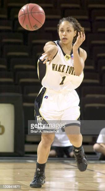 Wake Forest's Porche' Jones makes a pass versus Charlotte in first round action of the Women's NIT at the LJVM Coliseum in WinstonSalem NC March 18...