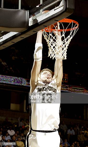Wake Forest's Vytas Danelius slams home 2 of his 9 points versus the Elon Phoenix at the LJVM Coliseum in WinstonSalem NC December 15 2004