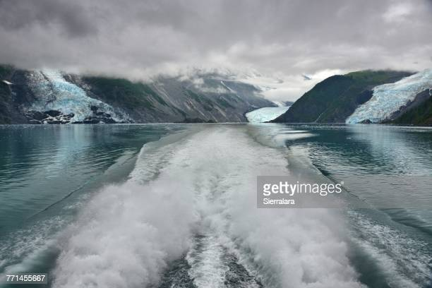 Wake of a boat sailing in Prince William Sound, Chugach National Forest, Alaska, America, USA