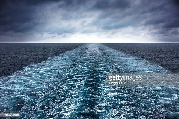 wake of cruiseship ms delphin during adriatic sea voyage. - adriatic sea stock pictures, royalty-free photos & images