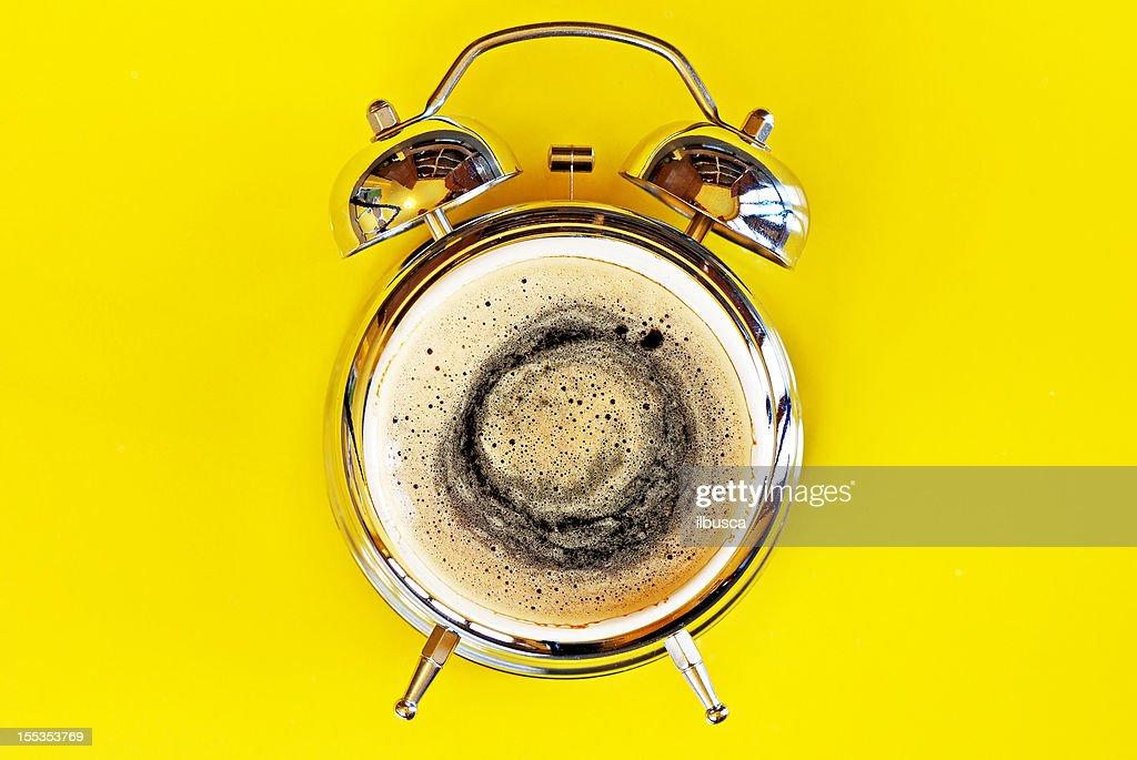 Wake up alarm coffee concept : Stock Photo