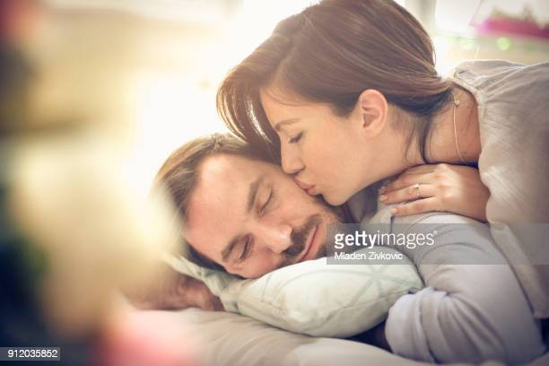 wake up my love. - good morning kiss images stock photos and pictures