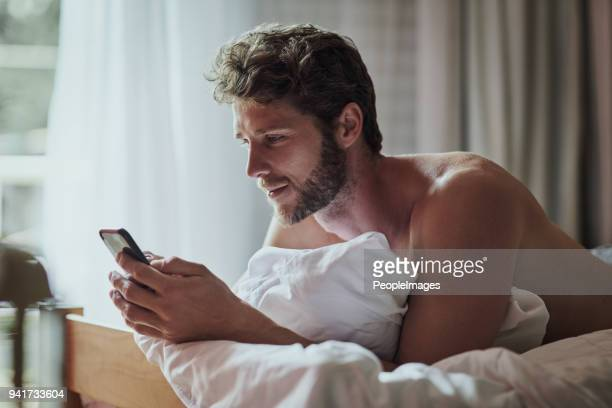 wake up then check up on my social media - shirtless stock pictures, royalty-free photos & images