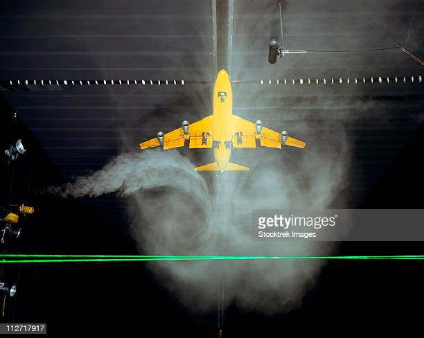 wake vortex flow visualization tests of a boeing 747 model. - wind tunnel testing stock photos and pictures