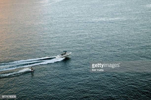 Wakeboard behind motorboat, Majorca, Spain