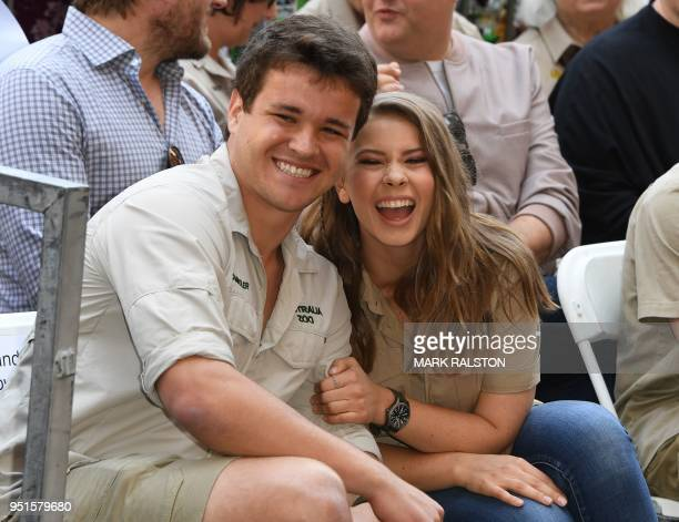 Wakeboarder Chandler Powell and conservationist and TV personality Bindi Irwin pose for a photo at the ceremony for Steve Irwin, who was honored...