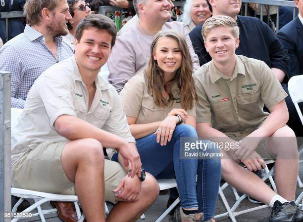 Wakeboarder Chandler Powell and conservationists/TV personalities Bindi Irwin and Robert Irwin attend Steve Irwin being honored posthumously with a...