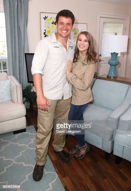 Wakeboarder Chandler Powell and conservationist/TV personality Bindi Irwin visit Hallmark's Home Family at Universal Studios Hollywood on April 24...
