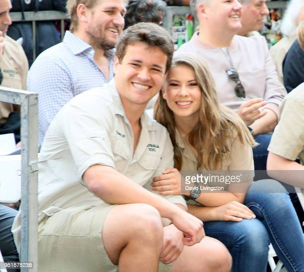 Wakeboarder Chandler Powell and conservationist/TV personality Bindi Irwin attend Steve Irwin being honored posthumously with a Star on the Hollywood...