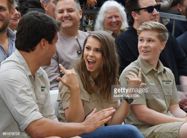 Wakeboarder Chandler Powell, conservationists and TV personalities Bindi Irwin and Robert Irwin attend the ceremony for Steve Irwin, who was honored...