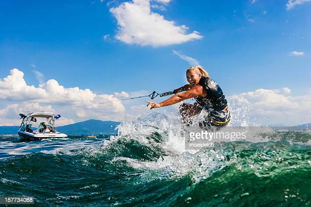 wakeboarding - waterskiing stock photos and pictures