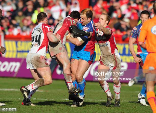 Wakefield's Danny Sculthorpe finds no way through against HullKR's Rhys Lovegrove Scott Murrell and Michael Dobson during the engage Super League...