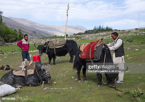 Wakhi men packing yaks for a treck badakhshan province wuzed Afghanistan on August 10 2016 in Wuzed Afghanistan