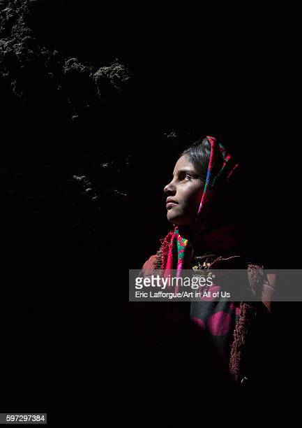 Wakhi nomad girl inside her house big pamir wakhan Afghanistan on August 10 2016 in Wakhan Afghanistan