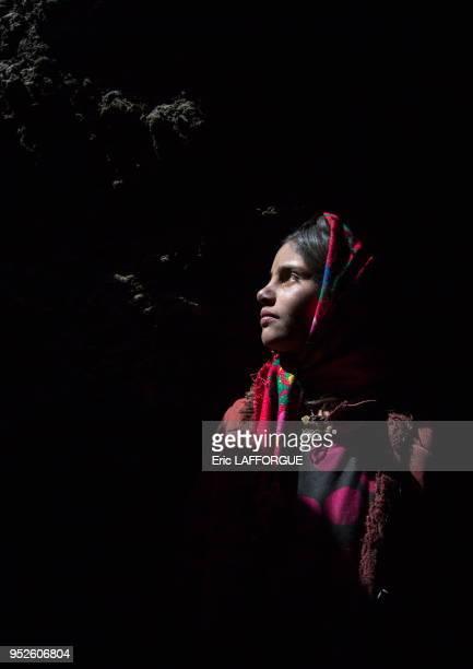 Wakhi nomad girl inside her house Big pamir Wakhan Afghanistan
