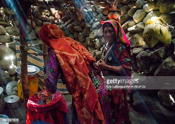 Wakhi nomad women making butter in the pamir mountains big pamir wakhan Afghanistan on August 10 2016 in Wakhan Afghanistan