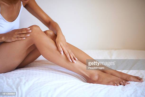 waking up to gorgeous skin - leg stock pictures, royalty-free photos & images