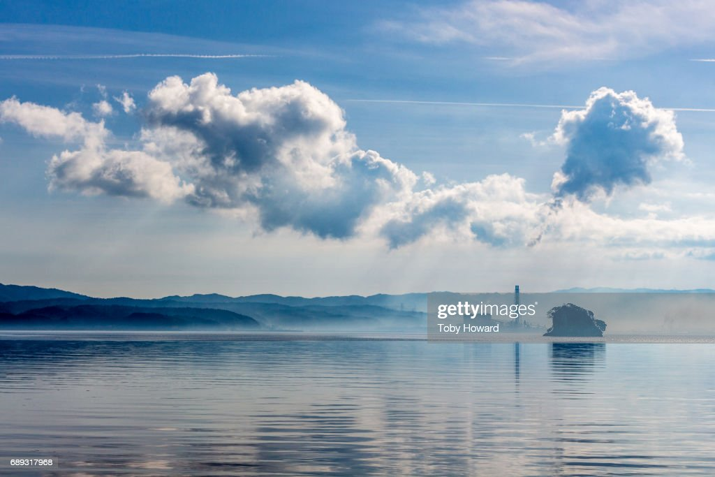 Wakura Onsen, Japan, clouds and sea : Stock Photo