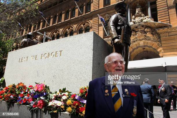 Wal ScottSmith attends to the Cenotaph during the Remembrance Day Service held at Martin Place on November 11 2017 in Sydney Australia This year...