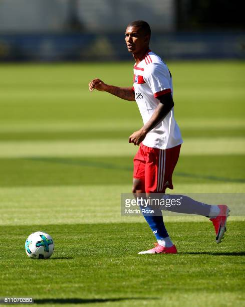 Walace controls the ball during a training session of Hamburger SV at Volksparkstadion on July 9 2017 in Hamburg Germany