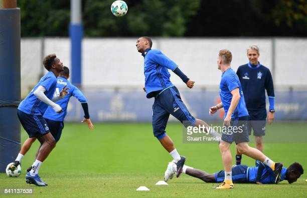 Walace heads the ball during a training session of Hamburger SV on August 31 2017 in Hamburg Germany