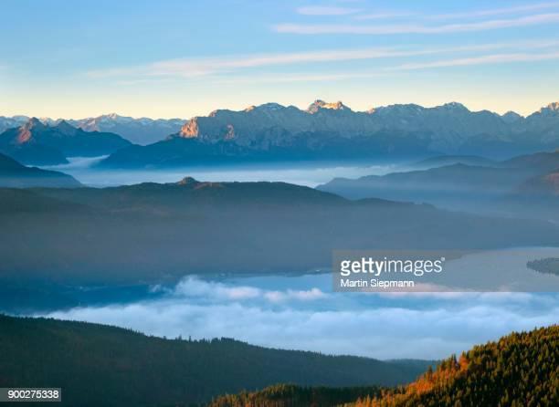 Walchensee and Wetterstein range, view from Hirschhoernlkopf over cloud cover, Jachenau, Isarwinkel, Upper Bavaria, Bavaria, Germany