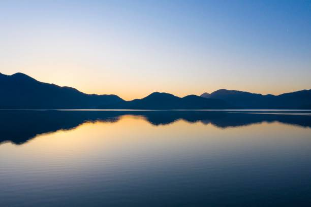 Walchensee at dawn, drone recording, Upper Bavaria, Bavaria, Germany