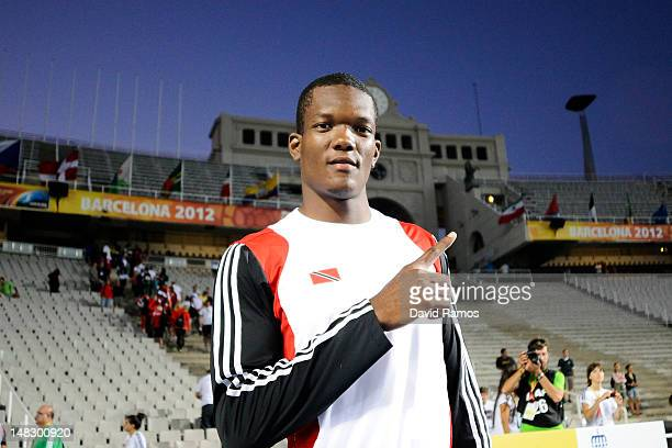 Walcott Keshorn of Trinidad and Tobago celebrates after winning the Men's Javaline Throw Final on the day four of the 14th IAAF World Junior...
