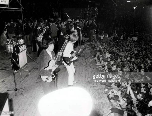 Waldbuehne West Berlin September15th 1965 British pop group The Rolling Stones pictured during their performance before thousands of screaming...