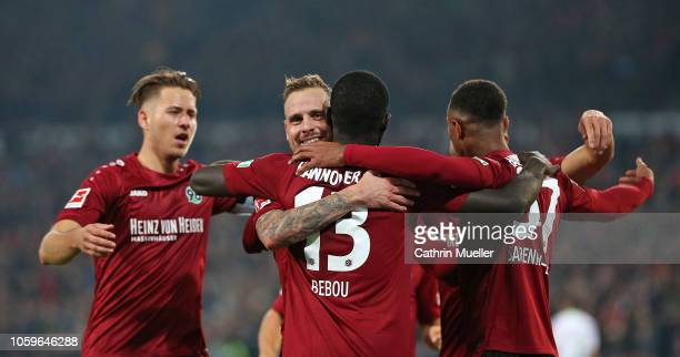 Waldemar Anton Marvin Bakalorz Ihlas Bebou and Noah Joel Sarenren Bazee of Hannover 96 celebrate after scoring during the Bundesliga match between...