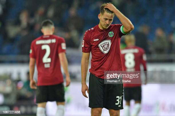 Waldemar Anton of Hannover looks dejected after losing the Bundesliga match between Hannover 96 and Hertha BSC at HDIArena on December 1 2018 in...