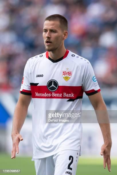 Waldemar Anton of VfB Stuttgart controls the ball during the Bundesliga match between Eintracht Frankfurt and VfB Stuttgart at Deutsche Bank Park on...