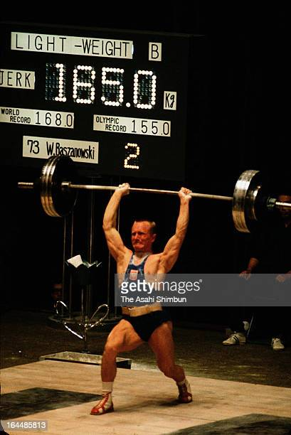 Waldemar Baszanowski of Poland competes in the Weightlifting Men's Lightweight during Tokyo Olympic at Shibuya Kokaido Hall on October 13 1964 in...