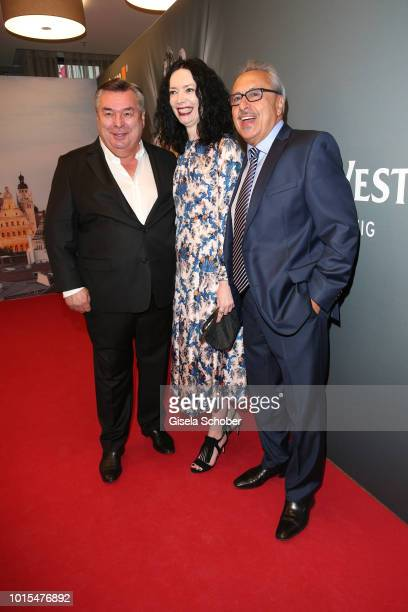 Waldemar Hartmann, Petra Boellmann and Wolfgang Stumph during the 11th GRK Golf Charity Masters reception on August 11, 2018 at The Westin Hotel in...